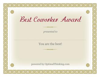 Free Printable Coworker Award Certificates