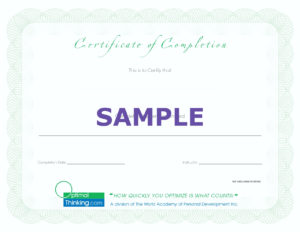 completion certificate sample
